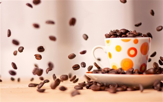 Wallpaper Cup of coffee beans close-up photography