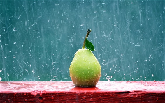 Wallpaper Green pear in the rain