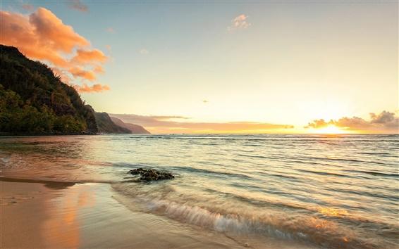 Wallpaper Hawaii ocean coast sunset