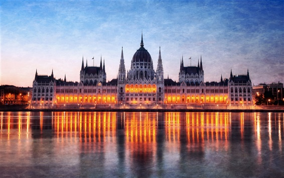 Wallpaper Hungary Budapest, Parliament building at night, Danube river reflection lights