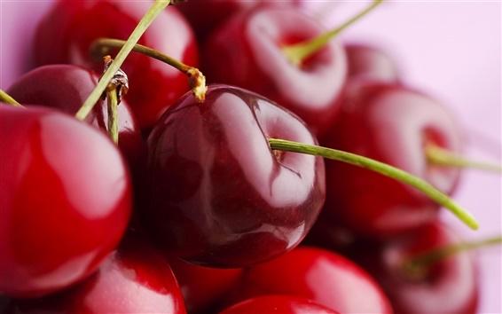 Fond d'écran Juicy, fruits délicieux, cerise rouge macro close-up