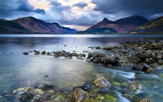 Wallpaper Lake, mountains, stones, dark clouds sky, nature landscape