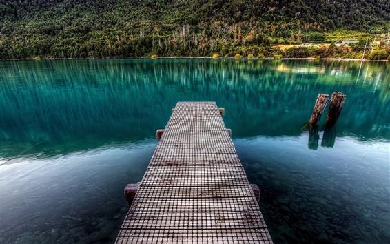 Обои Озеро деревянный пирс