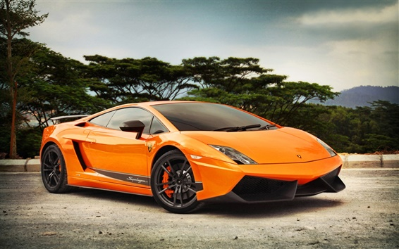Wallpaper Lamborghini Gallardo LP570-4 orange color