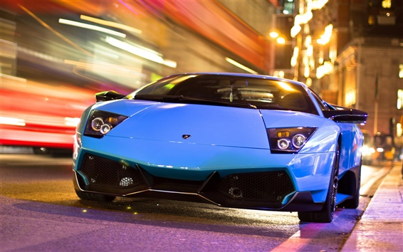 Wallpaper Lamborghini blue car in the city night road
