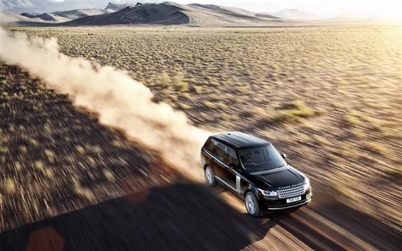 Wallpaper Land Rover in the desert at high speeds
