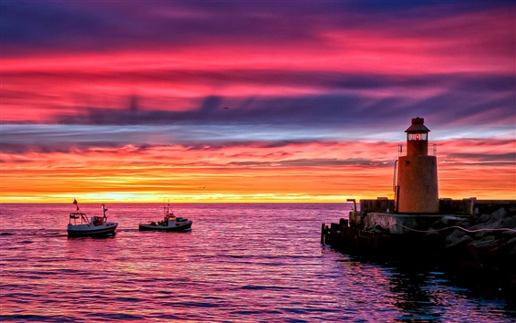 Wallpaper Lighthouse beach pier, sunset evening sea boats