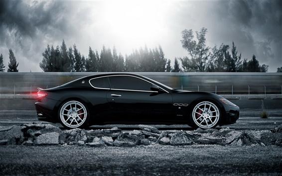 Wallpaper Maserati GranTurismo supercar in high speed running