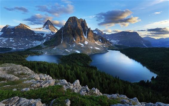 Fondos de pantalla Montañas, lagos naturales y los árboles del bosque, el cielo azul