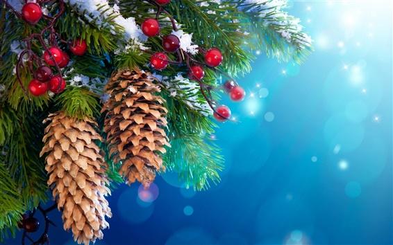 Fond d'écran Nouvel An arbre décorations de Noël, la neige, les brindilles, les baies