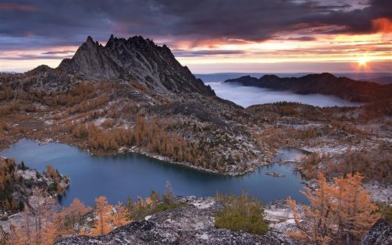 Wallpaper Prusik Peak in winter, mountains, lakes, trees, nature, sunset
