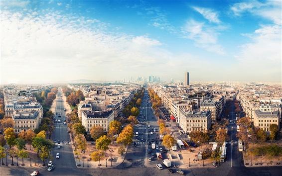 Обои Романтический город, Париж, Франция, дом, дорога, небо