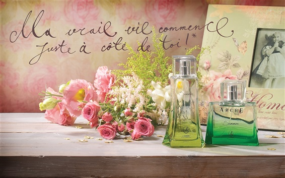 Wallpaper Still Life on the desktop, perfume, pink roses, photo frames