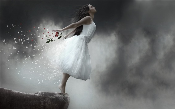 Wallpaper The fantasy girl incarnation of butterflies, rose petals falling