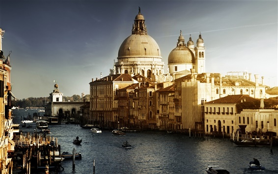 Wallpaper Venice Italy, Canal, boats, buildings, water, sunset