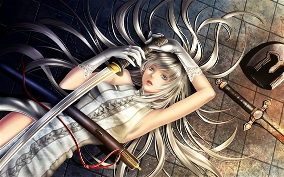 Wallpaper White-haired anime girl lying on the ground, holding a sword