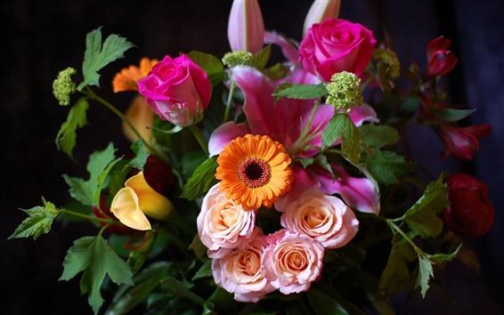 Fond d'écran Un bouquet de roses, chrysanthèmes