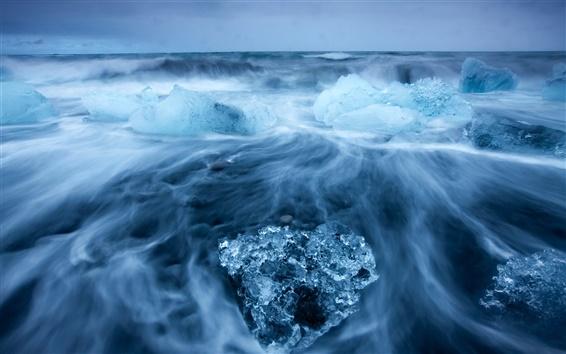Wallpaper Arctic landscape, icy sea, into blocks of sea ice, cold blue