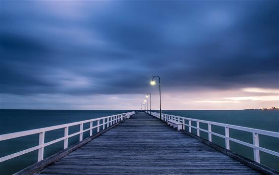 Wallpaper Australian landscape, wooden bridge, night lights, blue sea and sky