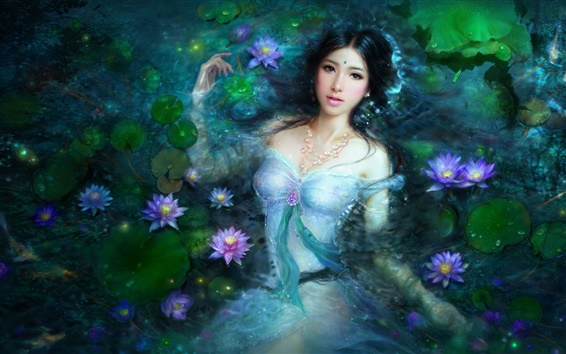 Papéis de Parede Menina asiática bonito na piscina de lótus