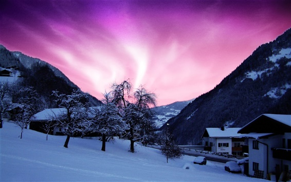 Wallpaper Beauty of the northern lights, purple sky, cold winter, house, snow