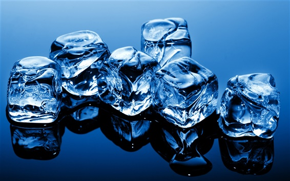 Wallpaper Blue theme, cold ice cubes