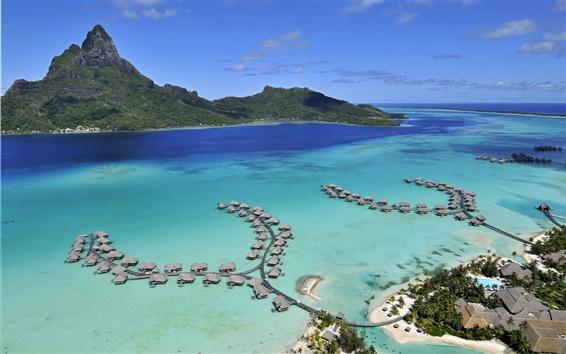 Wallpaper Bora Bora Island, sea, beach, houses