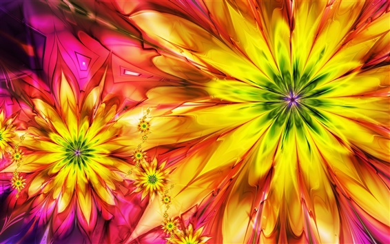 Wallpaper Bright abstract colorful flowers