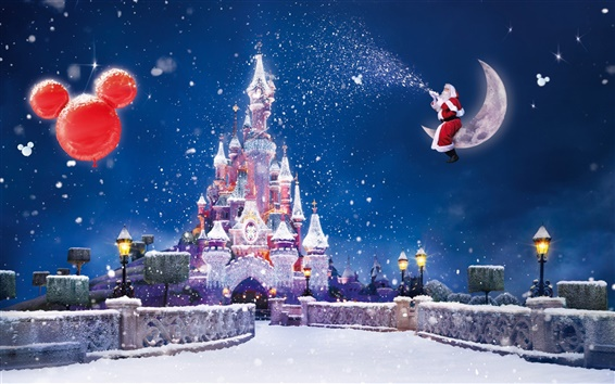 Wallpaper Christmas and New Year, the Disney castle, snow flying