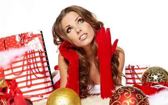 壁纸 圣诞女孩,圣诞球,礼物袋
