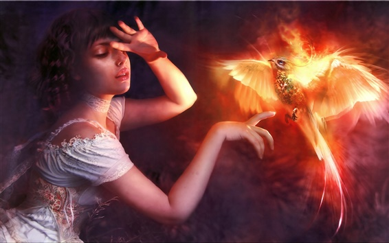 Wallpaper Creative picture, the girl with firebird phoenix