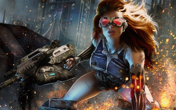 Обои Crysis 4, девушка, очки, свечи
