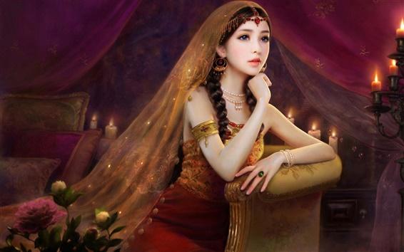 Обои Изысканное платье, красивая и очаровательная девушка, вуаль свечи цветы