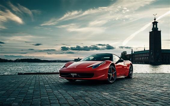 壁紙 フェラーリ458、赤色、スーパーカー、イタリア、川