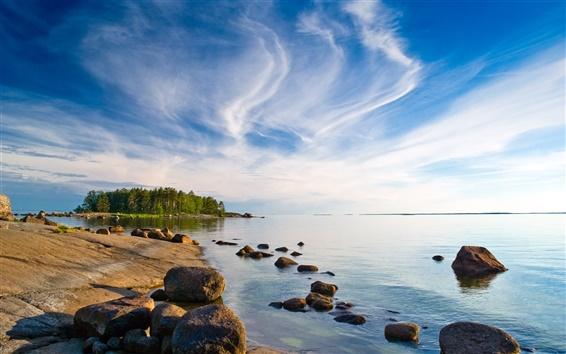 Wallpaper Finland landscape, the island, trees, beach, sea, blue sky, clouds