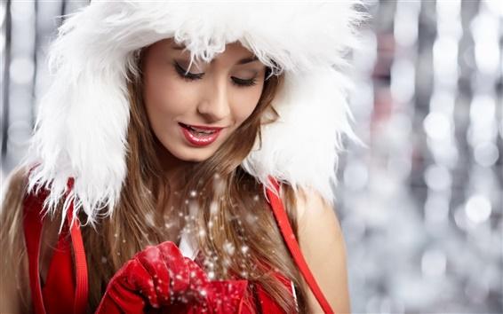 Fond d'écran Douce et belle fille de Noël