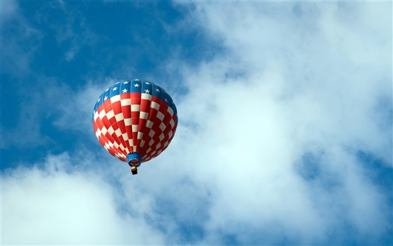 Wallpaper Hot air balloon in the sky, white clouds