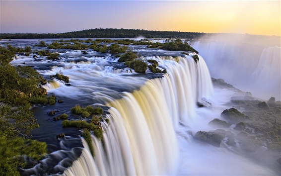 Wallpaper Iguazu waterfall, Argentina and Brazil at the junction