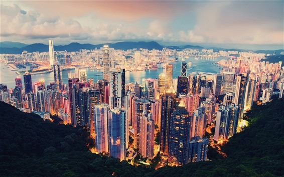 Wallpaper International metropolis, a beautiful night view of Hong Kong