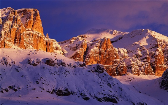 Wallpaper Italy's red rocks snow-capped mountains scenery close-up