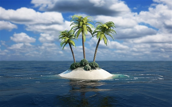 Wallpaper Lonely island, the island's three palm trees