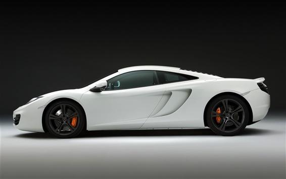 Обои McLaren MP4-12C белый суперкар, стороны крупным планом