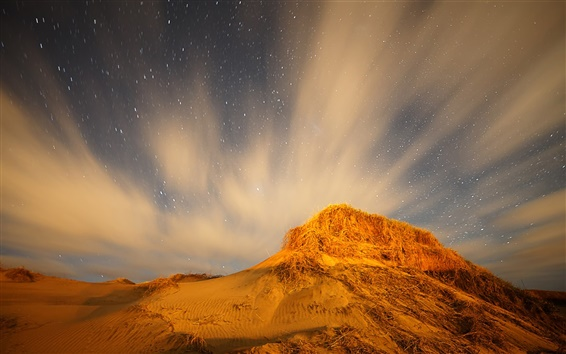 Wallpaper Northern Lights and the stars at night in the desert