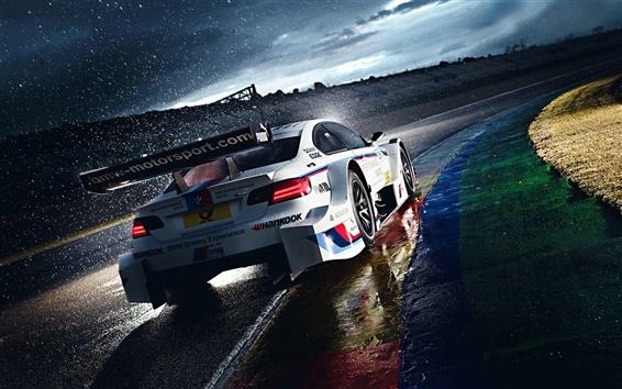 Обои Дождь утром, BMW M3 в гонке