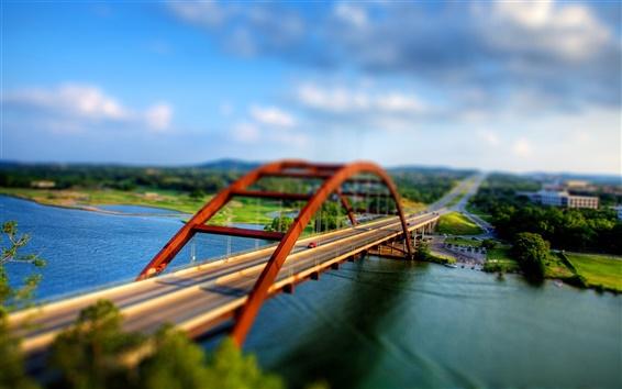 Обои Сдвиг фотографии, двусторонний автомобильный мост, река