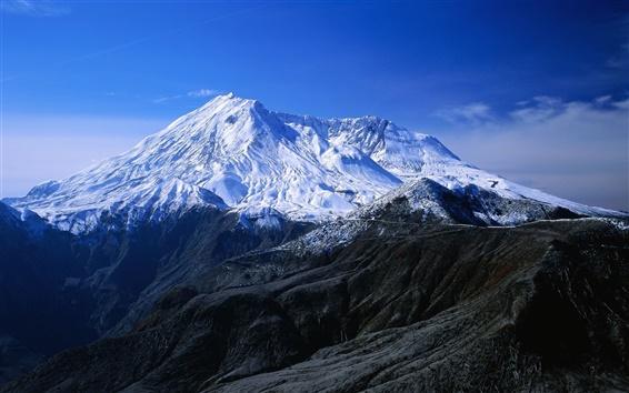 Papéis de Parede Montanhas cobertas de neve, céu azul, paisagem de inverno