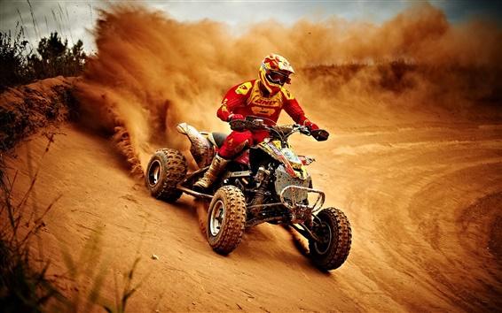 배경 화면 스포츠, 오토바이 경주, 먼지
