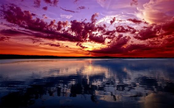 Fond d'écran Coucher de soleil, ciel rouge, rivière, nuages