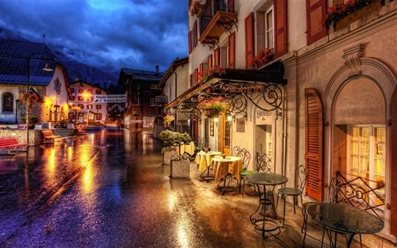 Papéis de Parede Suíça Zermatt ruas noturnas e luzes