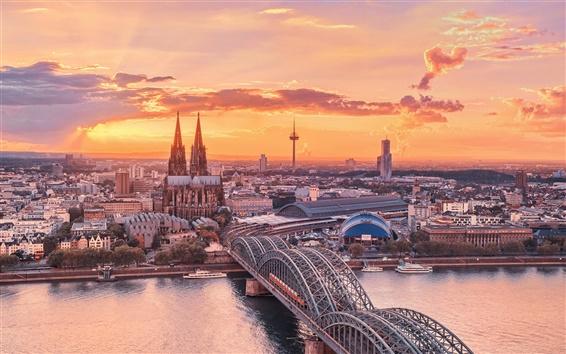 Hintergrundbilder Stadtlandschaft, Köln, Deutschland, Sonnenuntergang, Himmel, der Rhein, Brücke, Gebäude